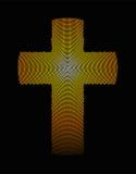 Golden latin cross radial dot pattern illustration Royalty Free Stock Photos