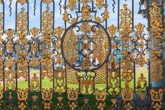 Golden lattice of Catherine Palace against Catherine Palace, Tsa Royalty Free Stock Image
