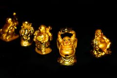 Golden Laughing Buddha. stock image
