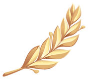 Golden laurel branch. Isolated on white vector illustration Royalty Free Stock Photos