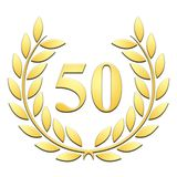Gold laurel embossed 50th anniversary on white background stock illustration