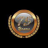 Golden laurel wreath 75 years. Bling bling and diamonds Royalty Free Stock Image
