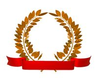 Golden laurel wreath Royalty Free Stock Image