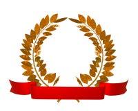 Golden laurel wreath. 3d illustration of a golden laurel wreath and red ribbon royalty free illustration