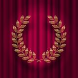 Golden laurel wreath  against a red curtain background. Vector illustration Royalty Free Stock Images