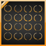 Golden laurel wreath collection. Eps10 Royalty Free Stock Photo