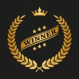 Golden laurel wreath with crown. Winner golden laurel wreath on black background. Vector illustration Stock Photo