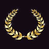 Golden Laurel wreath with glitter, specks of light on an isolated black background. Symbol of victory, triumph. Vector element. royalty free illustration