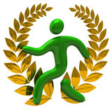 Golden laurel wreath and green man Royalty Free Stock Photo