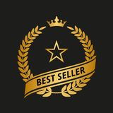 Golden laurel wreath icon. Best seller golden laurel wreath on black background. Vector illustration Royalty Free Stock Photos