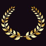Golden Laurel wreath, isolated on black background. Symbol of victory, triumph. Vector element for your design. Eps 10 vector illustration
