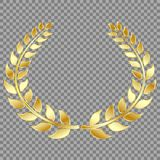 Golden Laurel wreath, isolated on gray background. Vector element for your design. Eps 10 royalty free illustration