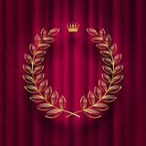 Golden laurel wreath with royal crown against a red curtain background. Vector illustration Stock Image