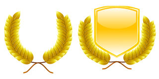 Golden laurel wreath and shield Royalty Free Stock Photos