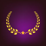 Golden laurel wreath with star. Stock Photos