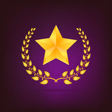 Golden laurel wreath with star. Royalty Free Stock Photography