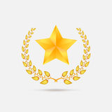 Golden laurel wreath with star. Stock Images