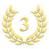 Laurel wreath 3rd anniversary on a white background stock illustration