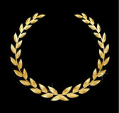 Golden laurel wreath vector illustration on black background Royalty Free Stock Photos