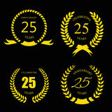 Golden laurel wreath 25 years set -   jubilee Royalty Free Stock Image