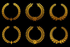Golden laurel wreathes set Stock Photography