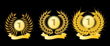 Golden laurel wreaths. Isolated on a black background Royalty Free Stock Image