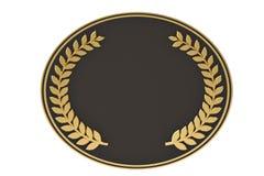 Golden laurel wreaths on black base.3D illustration. Golden laurel wreaths on black base. 3D illustration stock illustration