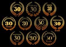 Golden laurel wreaths icons for jubilee design vector illustration