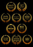 Golden laurel wreaths for Quality Guarantees label vector illustration