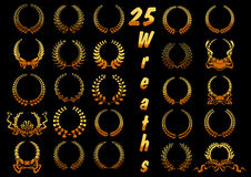 Golden laurel wreaths with ribbons and bows icons Stock Image