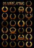 Golden laurel wreaths with ribbons Stock Images