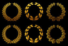 Golden laurel wreaths set stock illustration