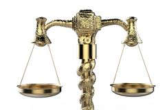 Golden law scale. 3d rendering golden law scale on white background Royalty Free Stock Photos
