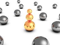 Golden leader ball pyramid in other metallic vector illustration
