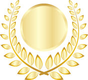 Golden leaf crest. A vector drawing represents golden leaf crest design Royalty Free Stock Photo