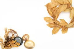 Golden leaf and fruit design elements. Decoration elements for invitation, wedding cards, valentines day, greeting cards. Isolated stock photography