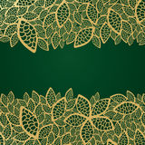 Golden leaf lace on green background Royalty Free Stock Image