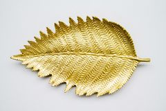 Golden leaf shape plate. Empty golden leaf shape plate on white background royalty free stock photography