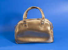 Golden leather bag Royalty Free Stock Photo