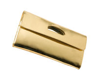 Golden leather handbag Stock Photo