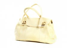 Golden leather purse Stock Image