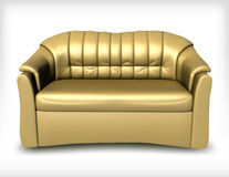 Golden leather sofa. Vector Royalty Free Stock Photography