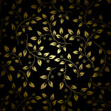 Golden leaves on black vector background Royalty Free Stock Image