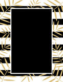 Golden leaves and black stripes background Royalty Free Stock Photo