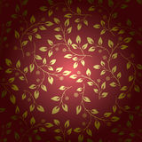 Golden leaves on brown vector background with gradient Royalty Free Stock Photography