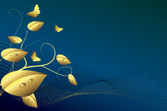 Golden leaves and butterflies on a blue background. Golden leaves with drops, golden butterflies and curves on a blue background Royalty Free Stock Photos
