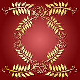 Golden leaves emblem Stock Images