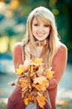 Golden Leaves in her Hand royalty free stock photos