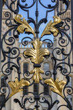 Golden leaves ornament at an old gate in Oxford Stock Photos