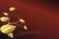 Golden leaves on a red background. Golden leaves with drops and curves on a dark red background Royalty Free Stock Image